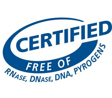 Certified free of detectable RNase, DNase, DNA and Pyrogen free logo