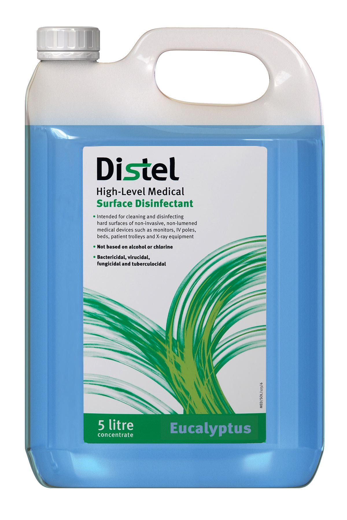 Image – Distel Disinfectant-Concentrate, 5 Litre Pump Container, Blue, Eucalyptus - key visual