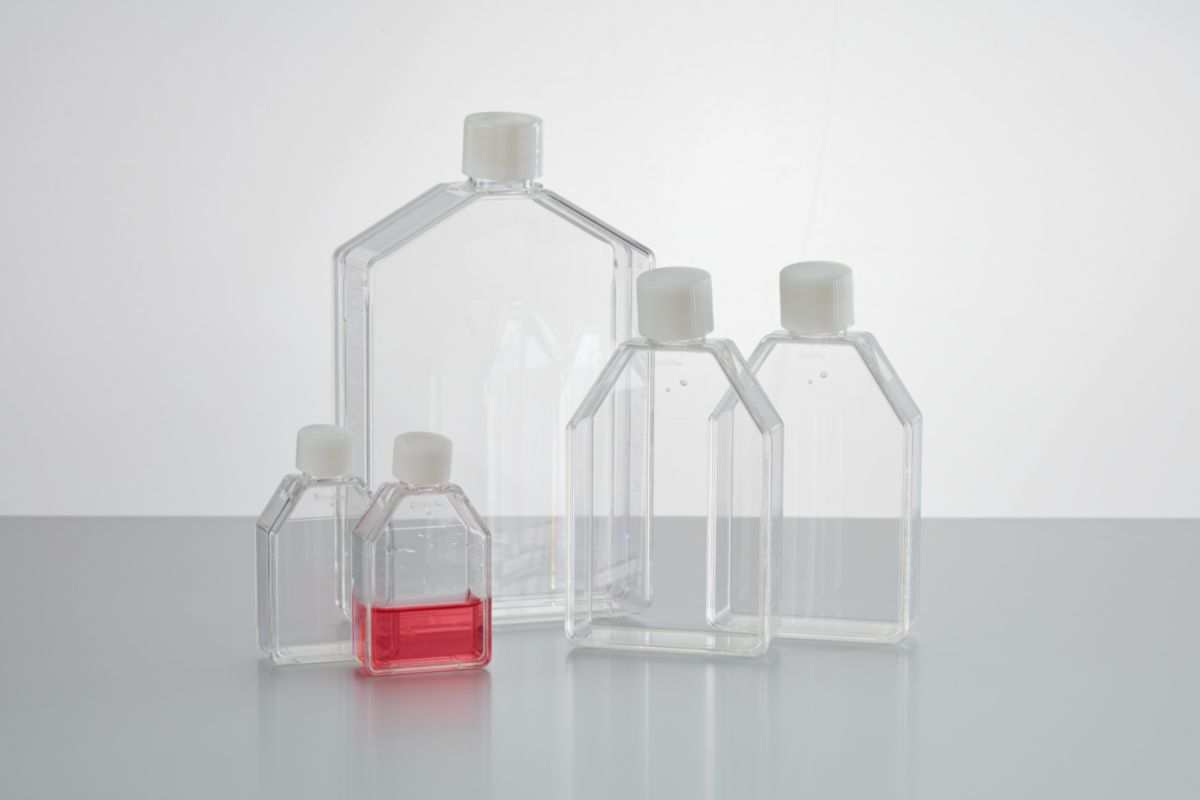 Image – Non-treated flasks with white caps - product